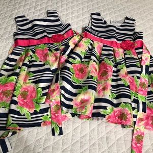 Twin Preppy Striped Floral Dresses 👯♀️